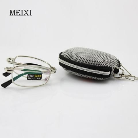 1.0+1.5+2.0+2.5+3.0+3.5 4.0 Low Price Hot Foldable Clear Men Women Reading Glasses Grid Case With Belt Clip Presbyopic