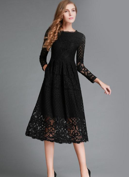 Soild Color Three-Quarter Knee-Length Lace Dress | Kanada