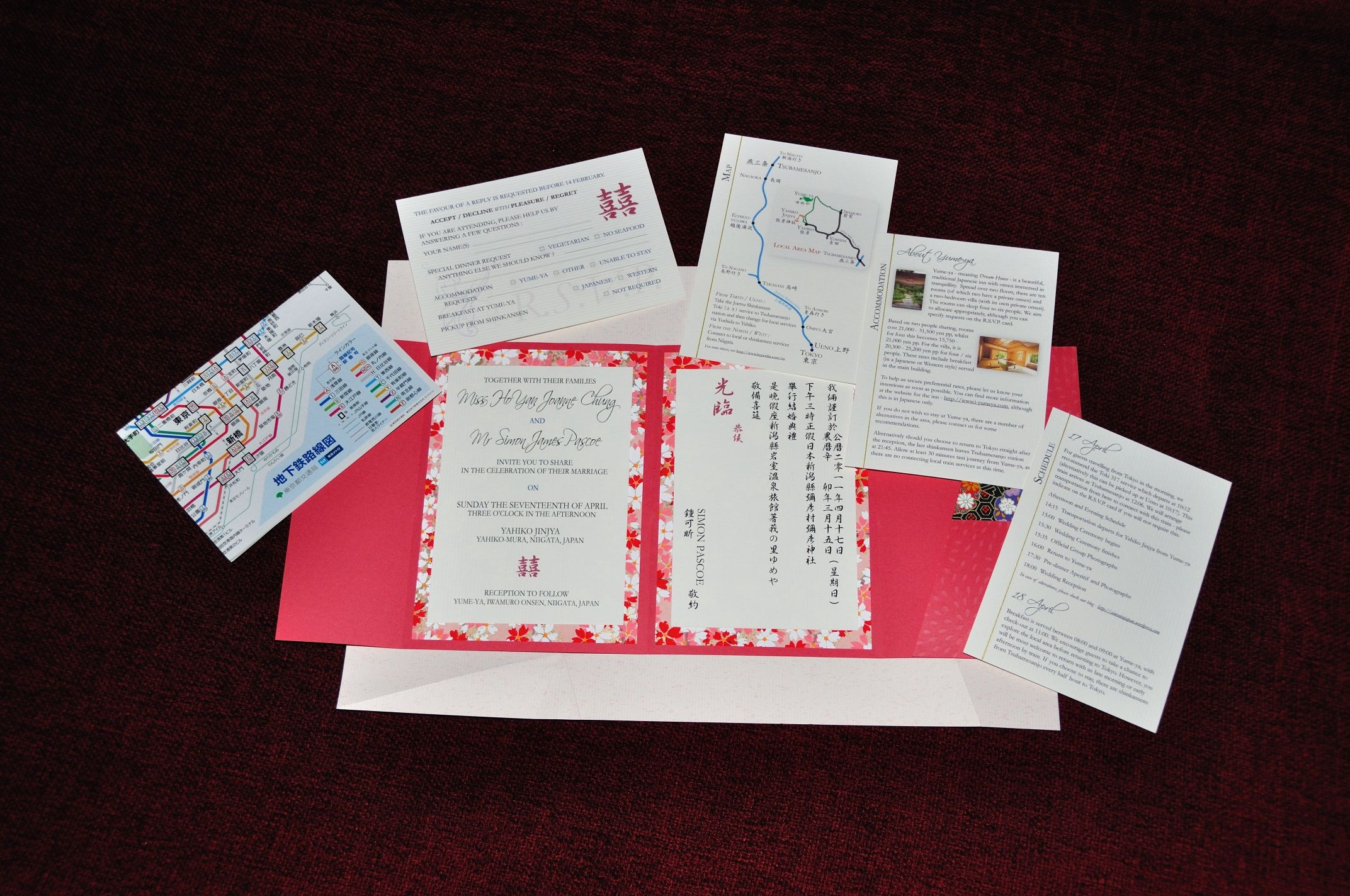 Complete Japanese wedding invitation – plenty of material to include ...