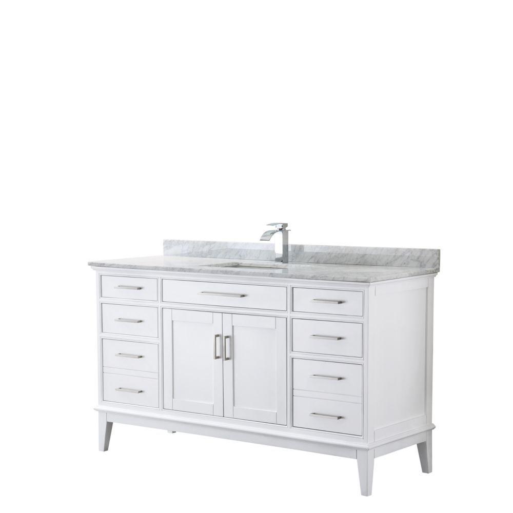 Margate 60 Inch Single Vanity In White Carrara Marble Top Square Sink No Mirror White Bathroom Storage Marble Vanity Tops Single Sink Bathroom Vanity