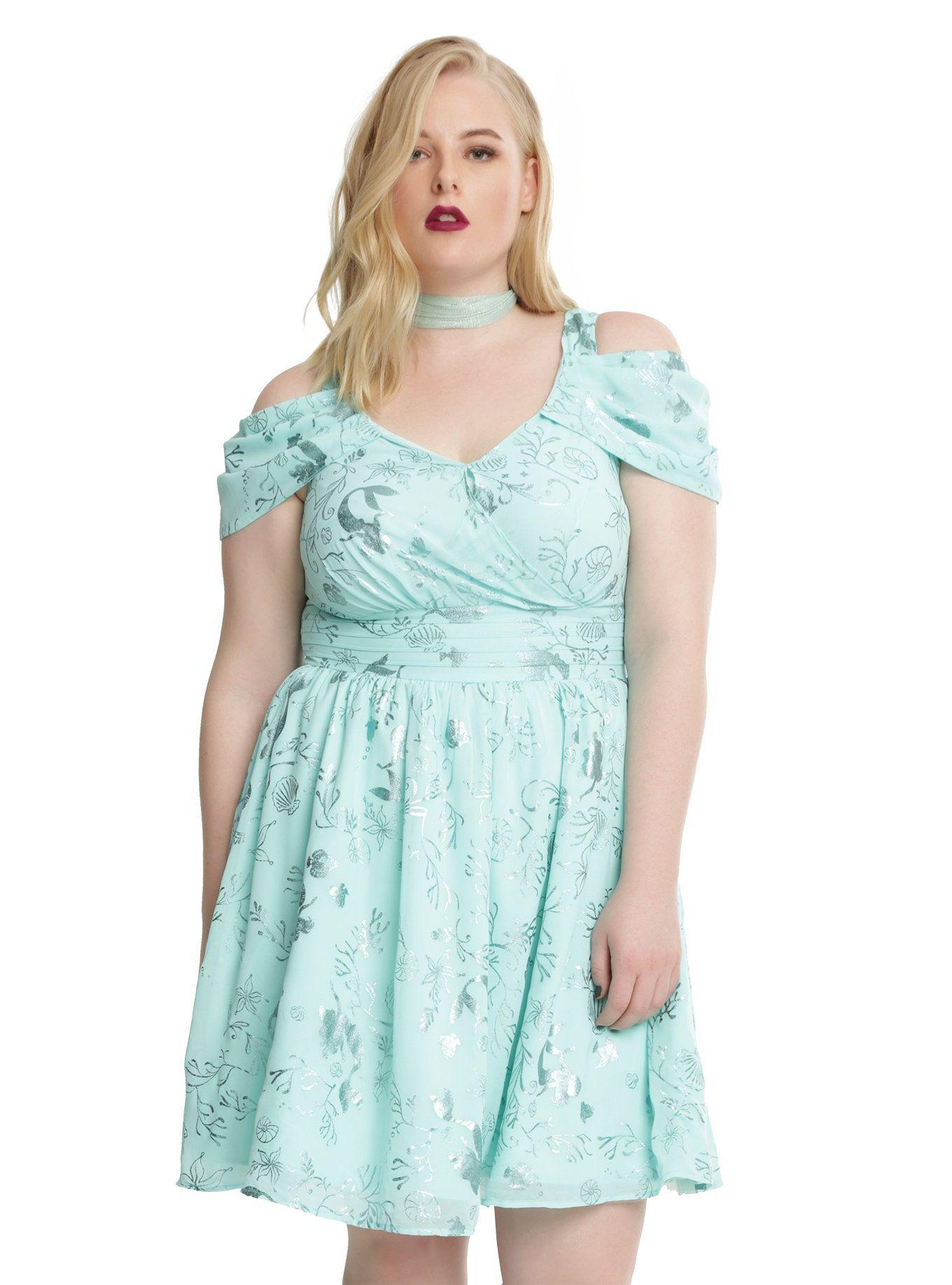 Disney the little mermaid ariel green princess dress plus