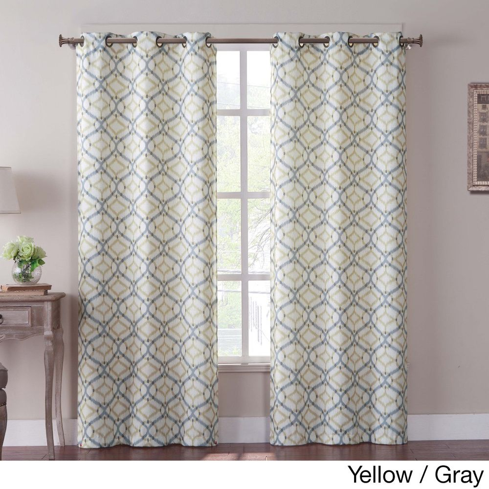 Curtain pair overstock shopping great deals on lights out curtains - Tanjiers Ikat 84 Inch Grommet Curtain Panel Pair Overstock Com Shopping Great Deals