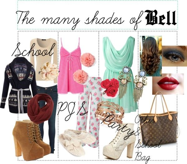 """The many shades of Bell"" by lindsaytinker ❤ liked on Polyvore"