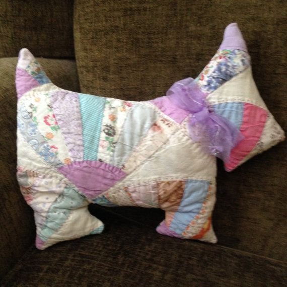 Vintage Quilted and Stuffed Scottie Dog by AmeliasQuiltsNThings