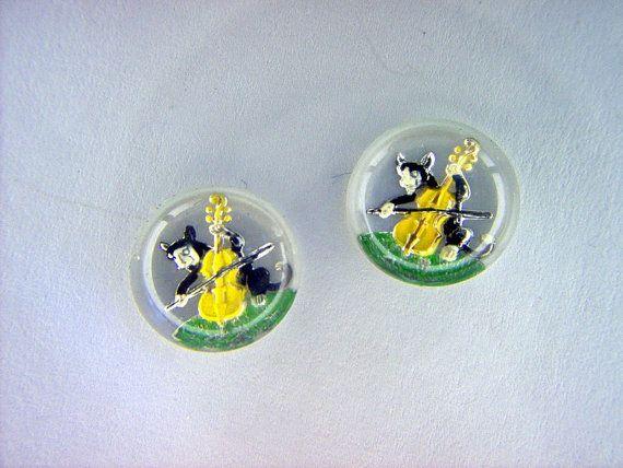 Vintage Horse Glass Bar Intaglio by artisticjewelysupply on Etsy