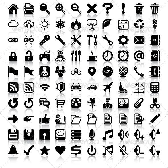 Set Of 100 General Minimalist Vector Icon Symbols Includes Teddy