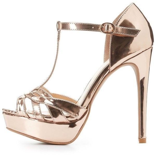 446c88d807f Charlotte Russe Metallic T-Strap Platform Heels ( 25) ❤ liked on Polyvore  featuring shoes