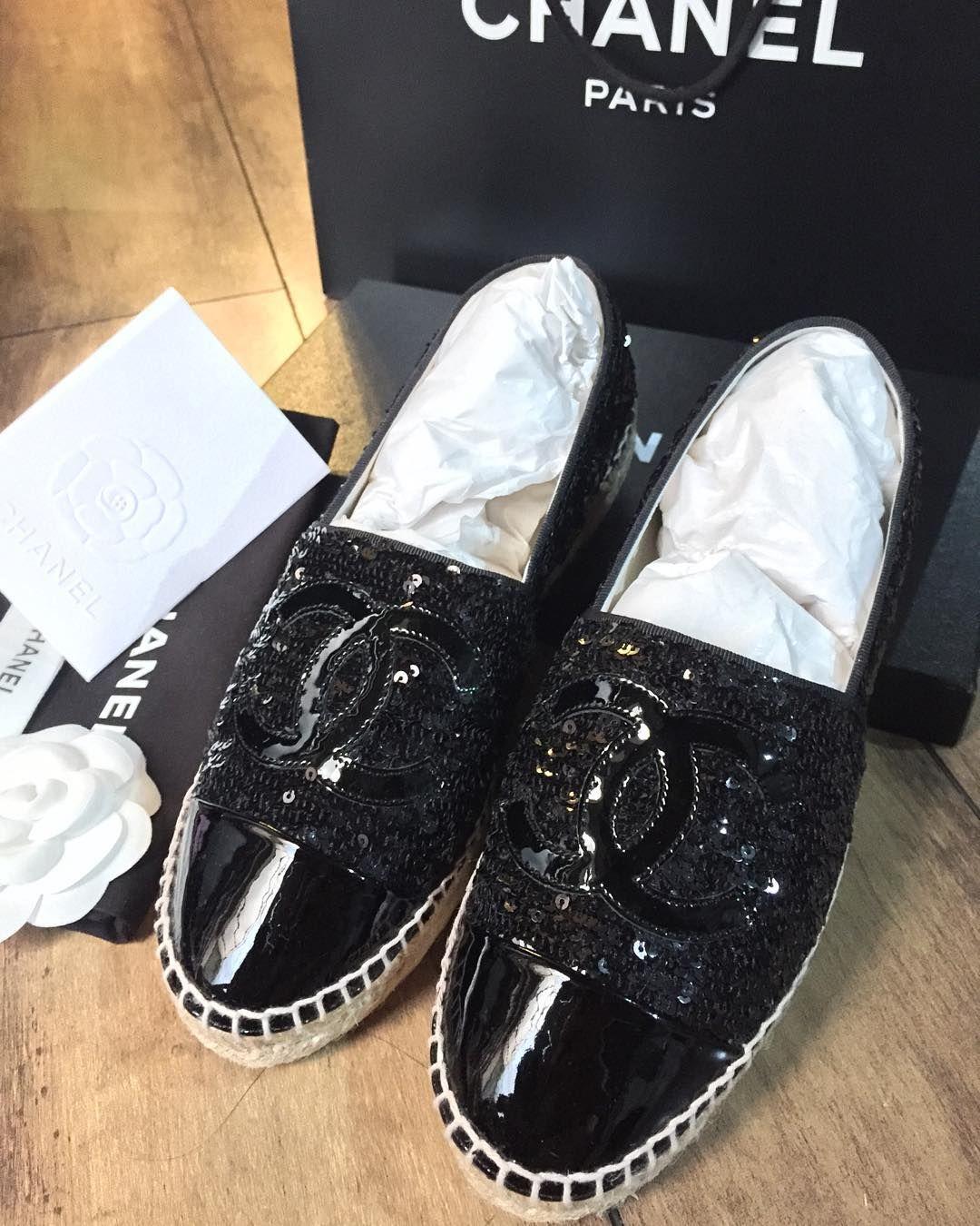 beb60131c2b BNIB Chanel Espadrille Black Sequins sz 37 complete set with rec ...