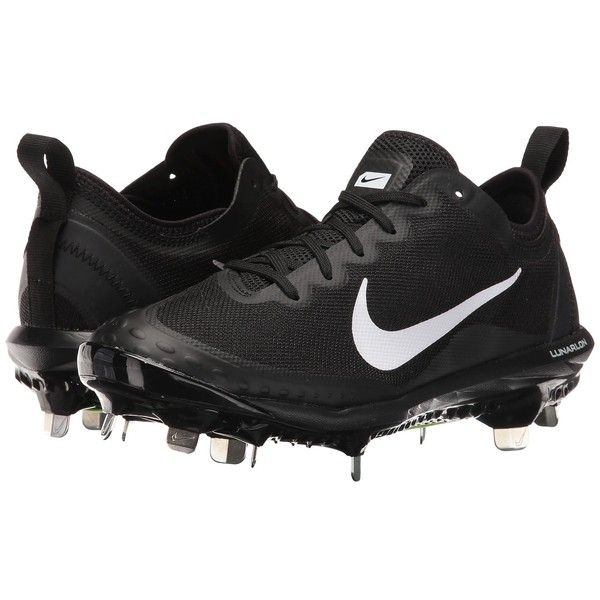 Nike Hyperdiamond 2 Elite (Black/White/Black) Women's Cleated Shoes ($80) ❤ liked on Polyvore featuring shoes, athletic shoes, nike footwear, nike shoes, grip shoes, black laced shoes and laced up shoes
