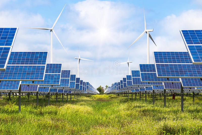 Solar Cells And Wind Turbines Generating Electricity In Power Station Alternativ Sponsored Turbines Generati In 2020 Solar Solutions Renewable Energy Solar Cell
