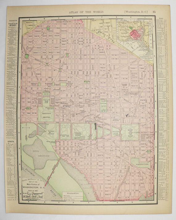 1901 Map Washington DC Map US Capital City Street Map Virginia