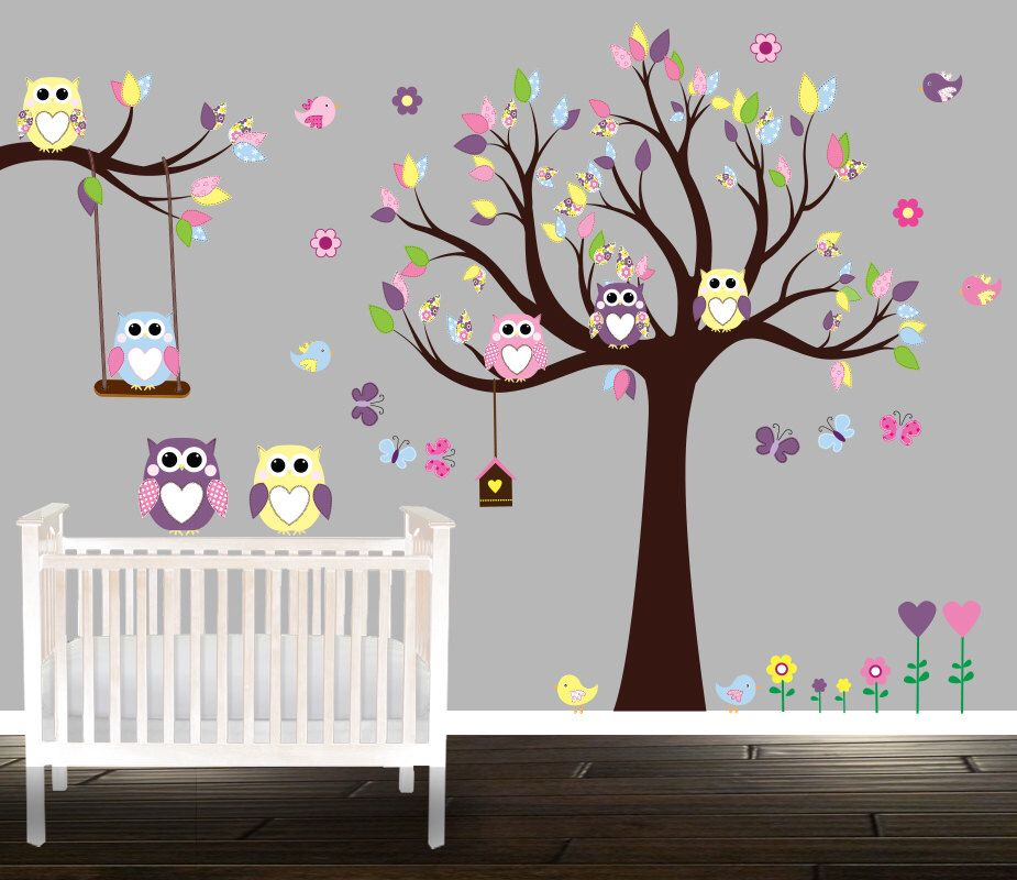 Owl Wall Decal Large Nursery Set Owl Wall Sticker, Branch Flowers  Butterflies Birdhouse Vinyl Wall A