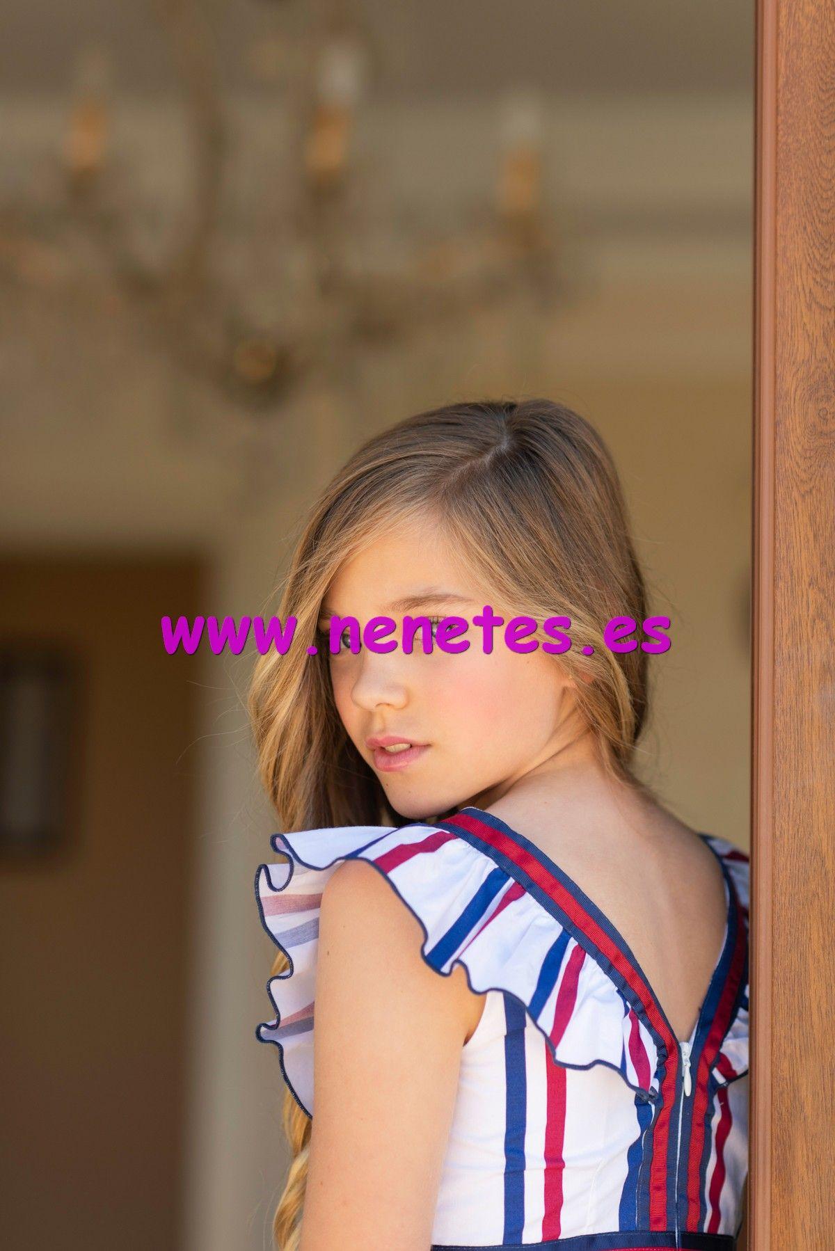 4eee32cac Vestido de niña juvenil blanco con rayas rojas y marino