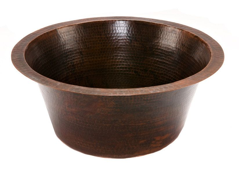 Round 16 Inch Hammered Copper Prep Sink With 35 Inch