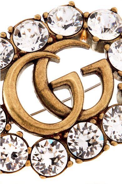 Gucci Gold-tone Crystal Brooch MEVJQRjCRW