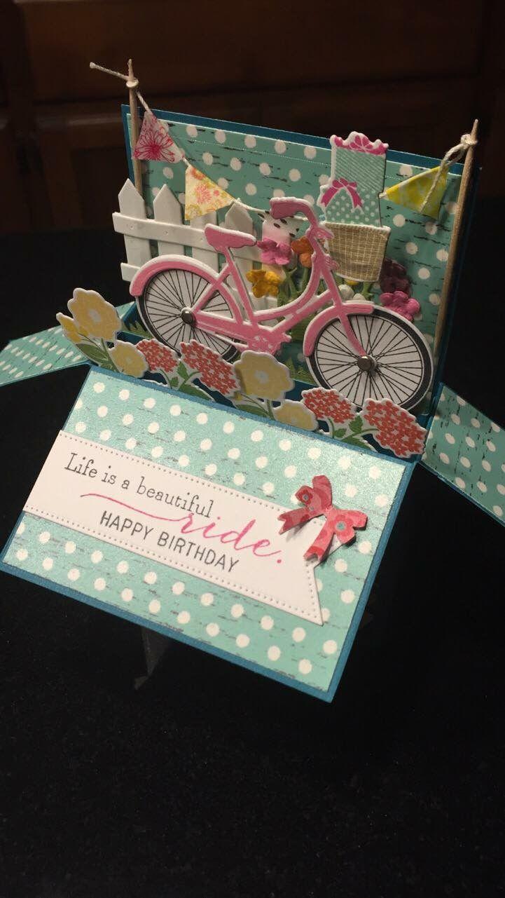 Handmade 3D Cycling Pop Up Box Card not a print.