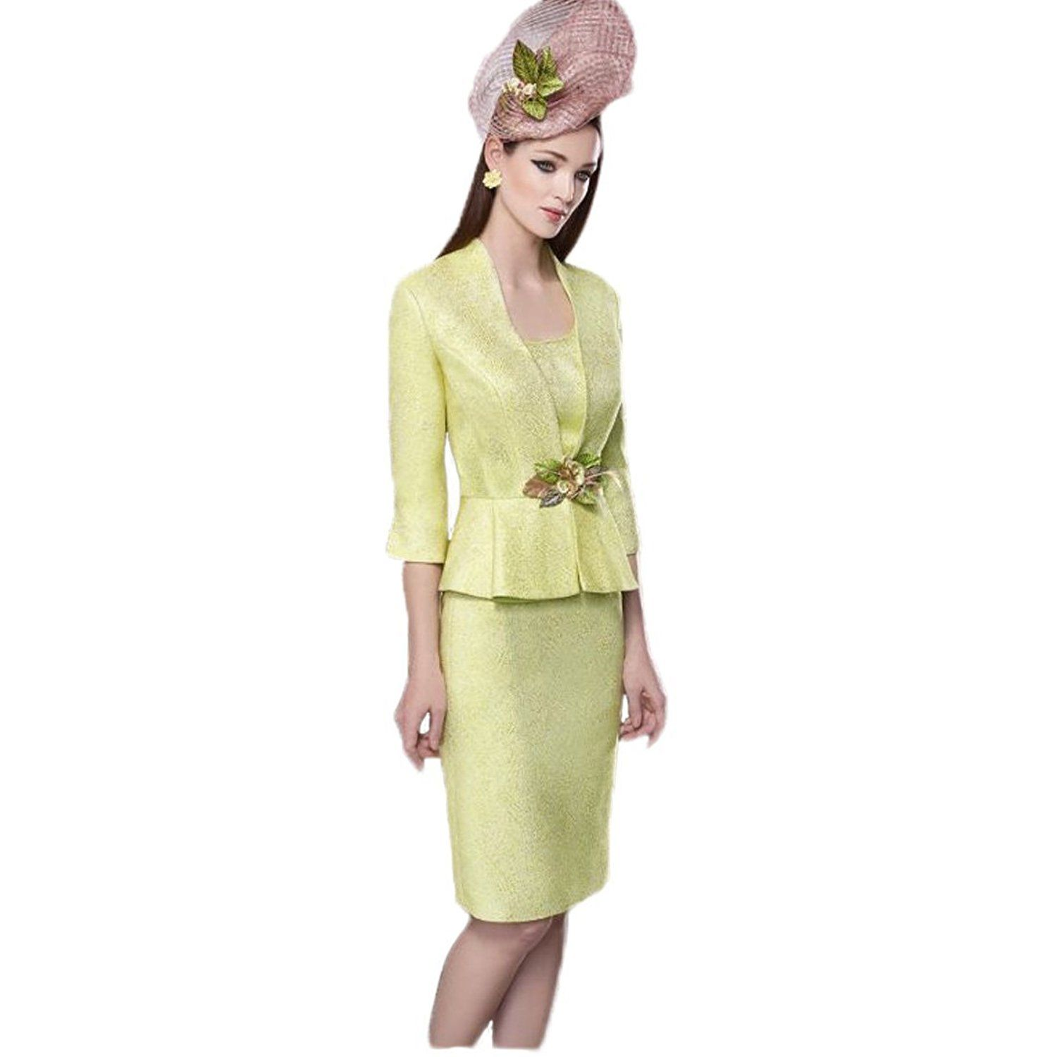 Fenghuavip Elegant 2 PCs Scoop Yellow Knee Length Mother of Bridal Dress * You will love this! More info here : mother of the bride dresses