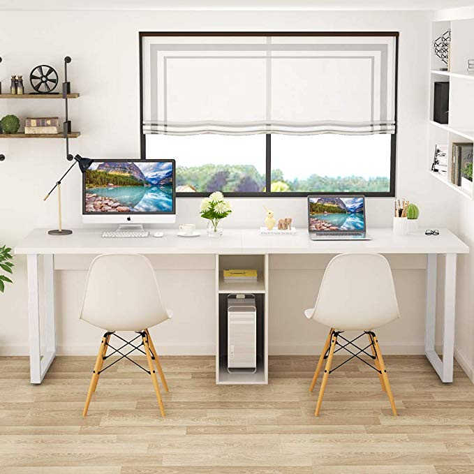Amazon Com Tribesigns 78 Computer Desk Extra Large Two Person Office Desk With Shelf Doub Home Office Design White Desk Office Computer Desk With Shelves