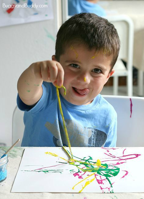 Process Art for Preschoolers: Painting with Yarn - Buggy and Buddy #fridayfunday