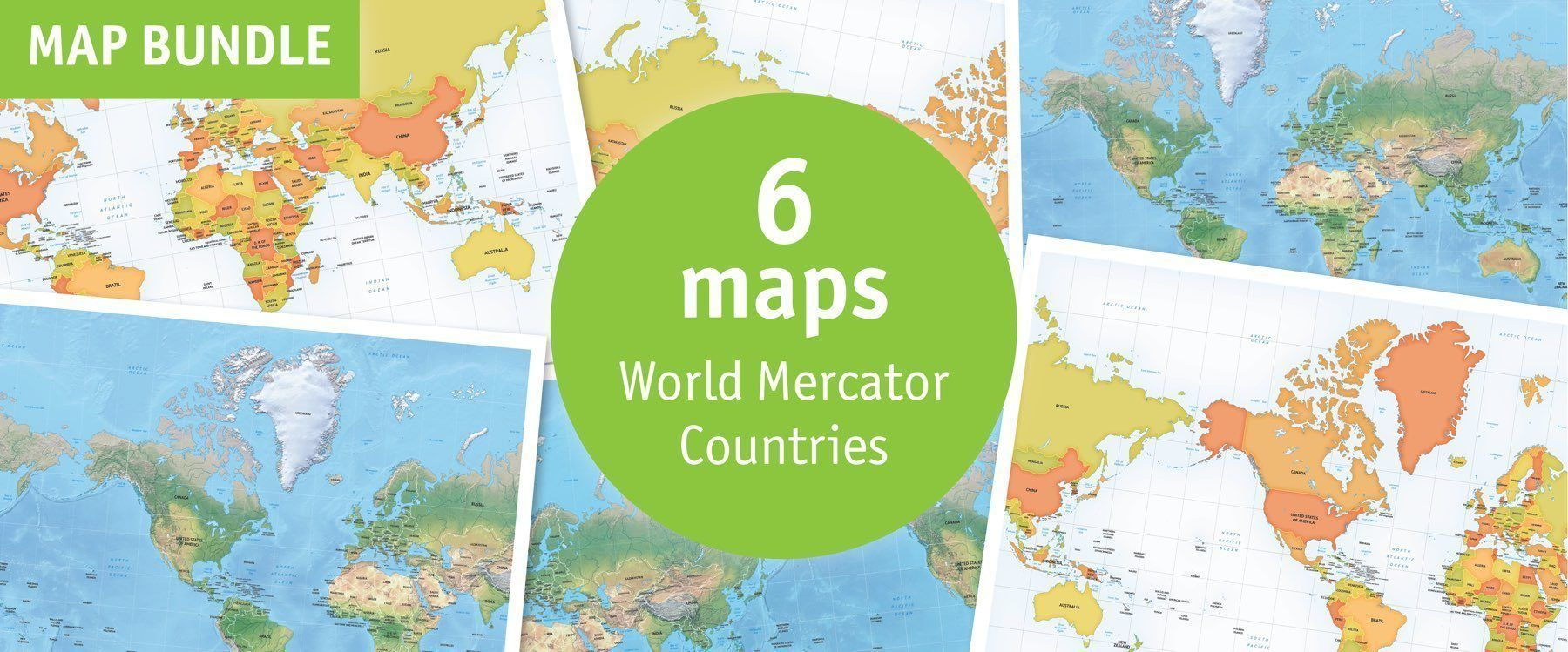 Buy 6 Vector World Maps Mercator Lowest Price 63 Off