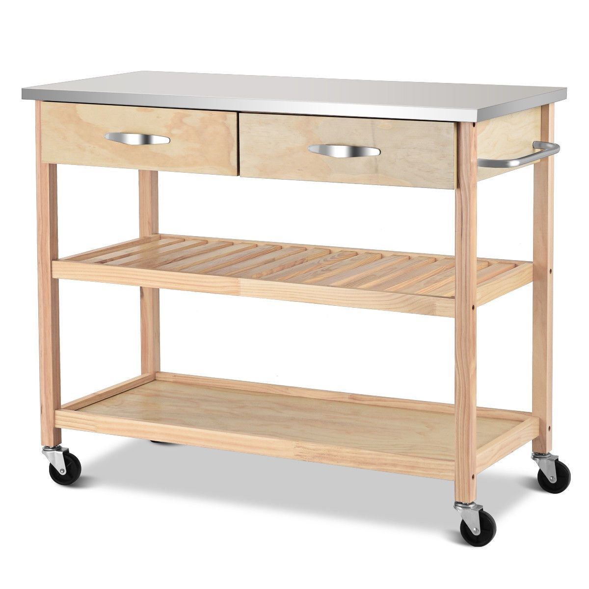 Rolling Kitchen Trolley Cart Island With Stainless Steel Countertop Kitchen Trolley Stainless Steel Countertops Kitchen Trolley Cart