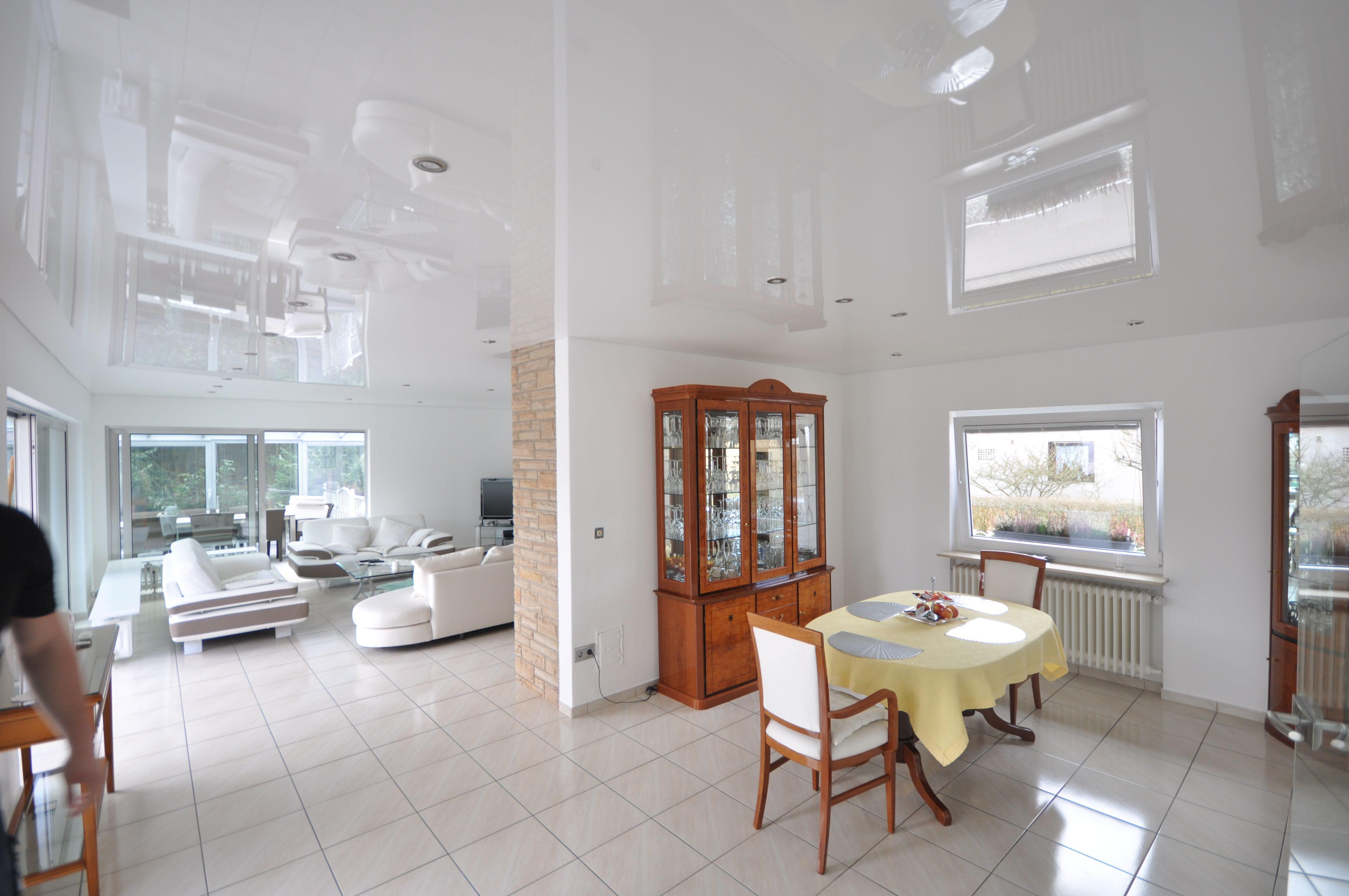 Wohnzimmer Weiß Einrichten, Spanndecke Weiß Hochglanz Mit Einbaustrahlern# Wohnzimmer#renovieren, Design Ideen