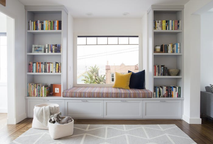Photo of Glen Park, San Francisco Family Home – Family room, window seat built-in shelves by Alden Miller Interiors – Lookbook – Dering Hall
