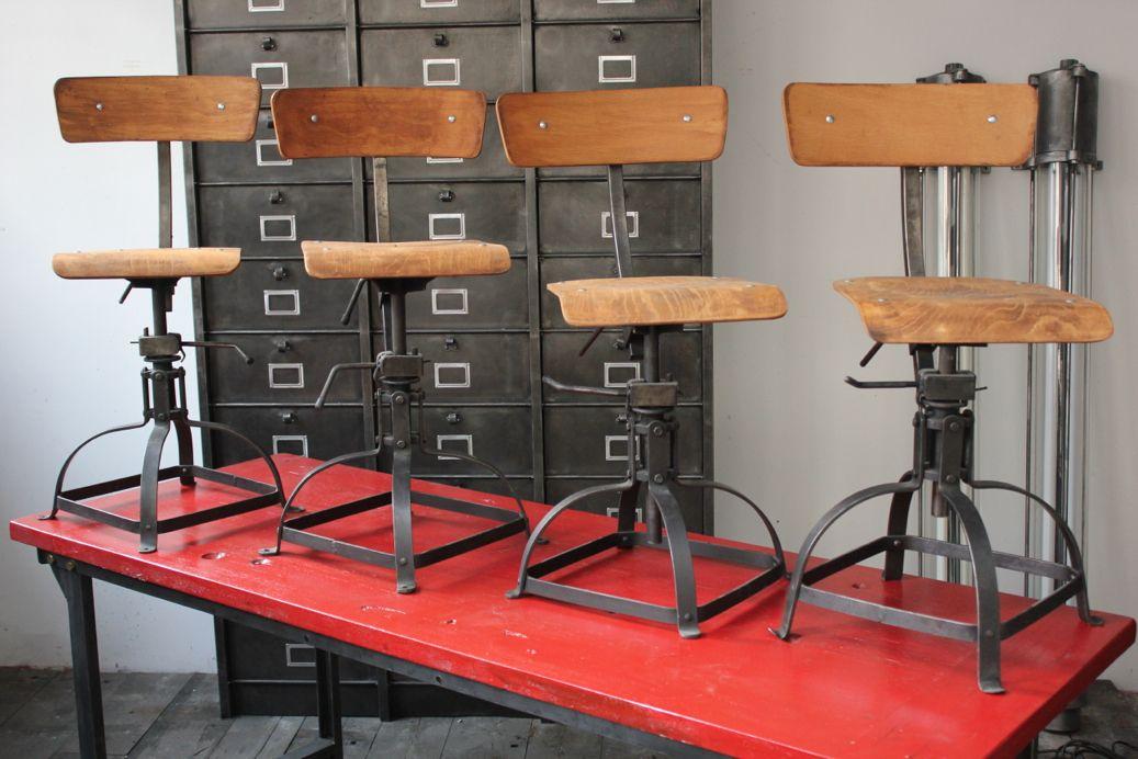 Industrial Metal Wood Chairs Atelier Industriel Meubles Bois Chaise Industrielle
