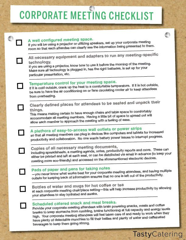 checklist to help plan for a corporate meeting planning working