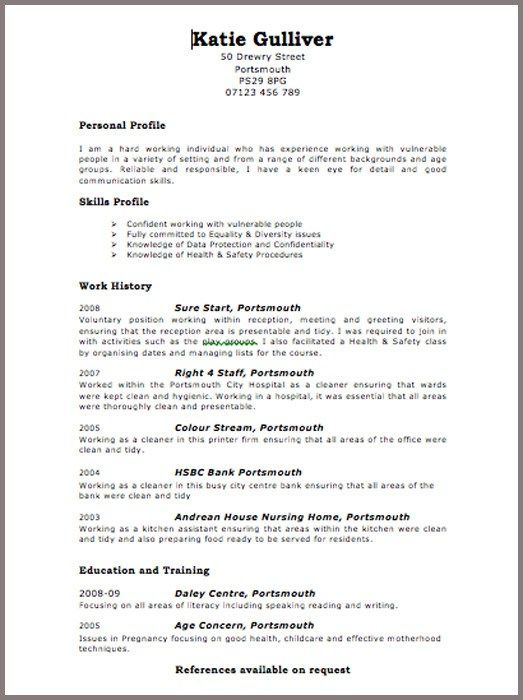 Simple c v format resume vitae sample curriculum professional