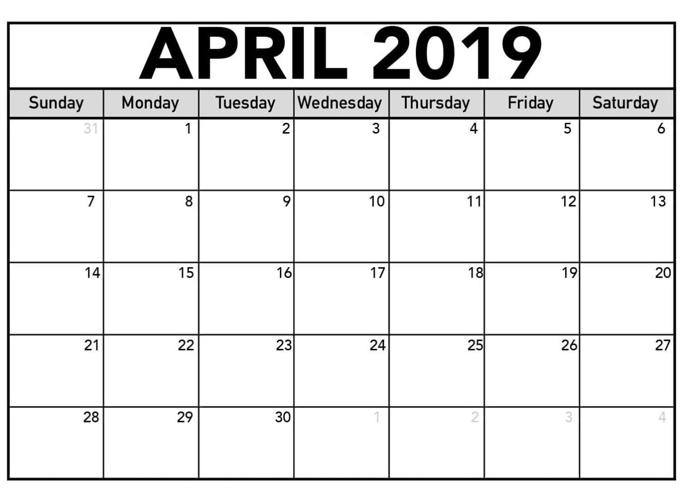 Editable April 2019 Calendar Template Projects To Try