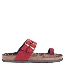 Comfort blooms this season in the Daisy Footbed Sandal from Muk Luks. Suede,  faux-leather, or fabric upper in a casual footbed sandal style with a thong  toe ...