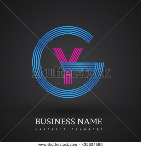 Letter GY or YG linked logo design circle G shape. Elegant blue and red colored letter symbol. Vector logo design template elements for company identity. - stock vector