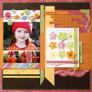 love this layout-stamped with puffy paint on the flowers