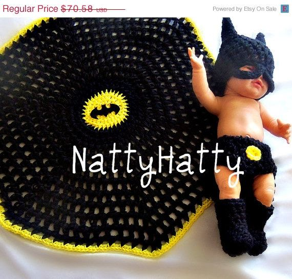 BATMAN Baby handmade crochet Set Hat diapercover by NattyHatty, $59.99