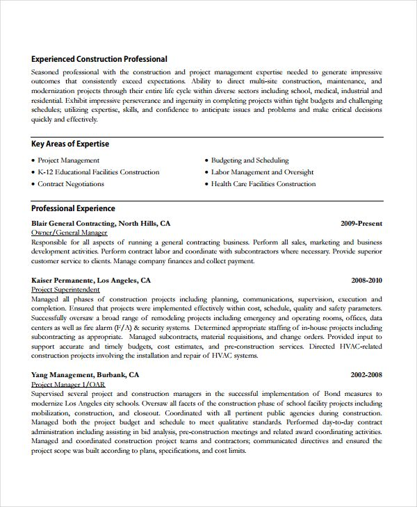 Construction Work Resume Template  Resume References Template For