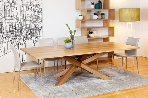 Spinifex Solid American Oak Dining Table With Contemporary Base Design Natural Finish And Customisable