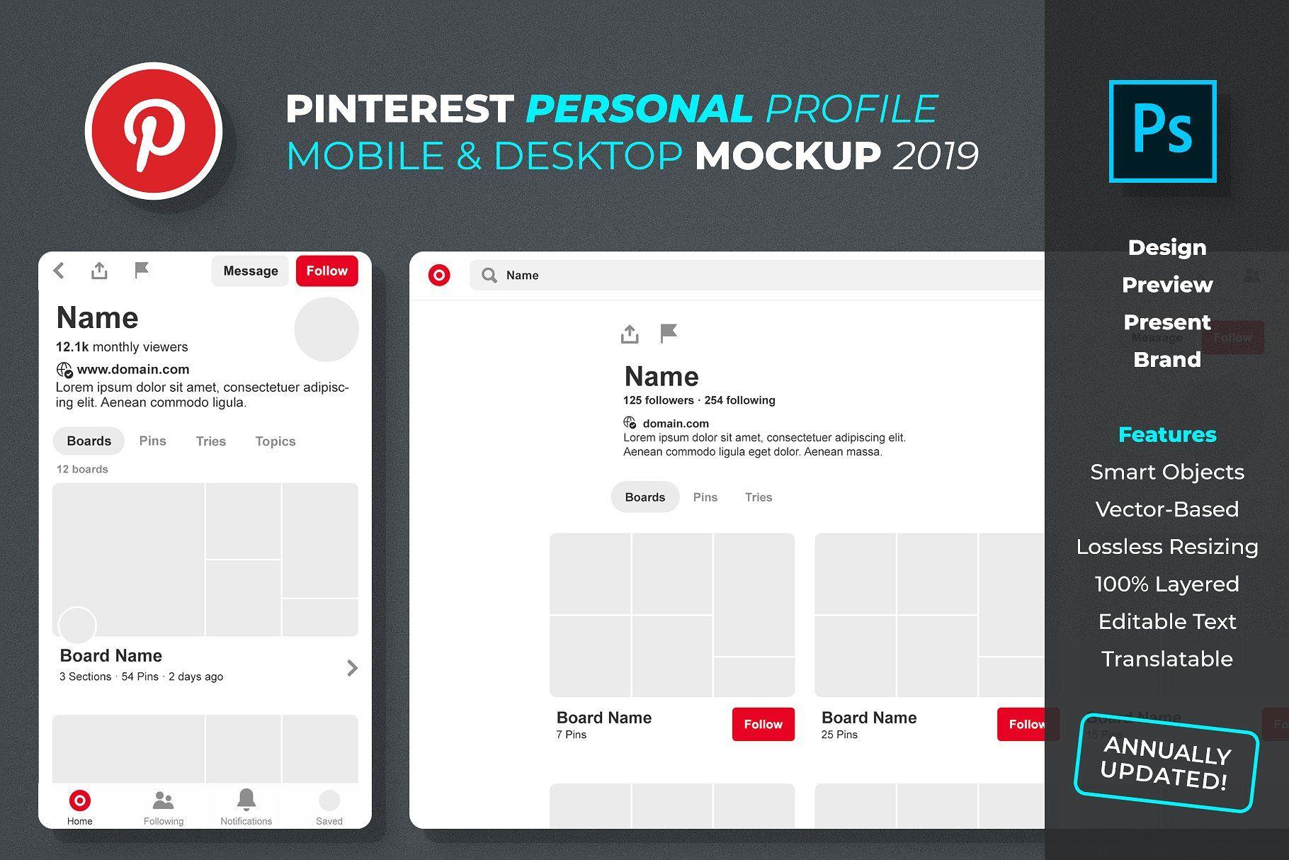 Pinterest Personal Profile Mockup