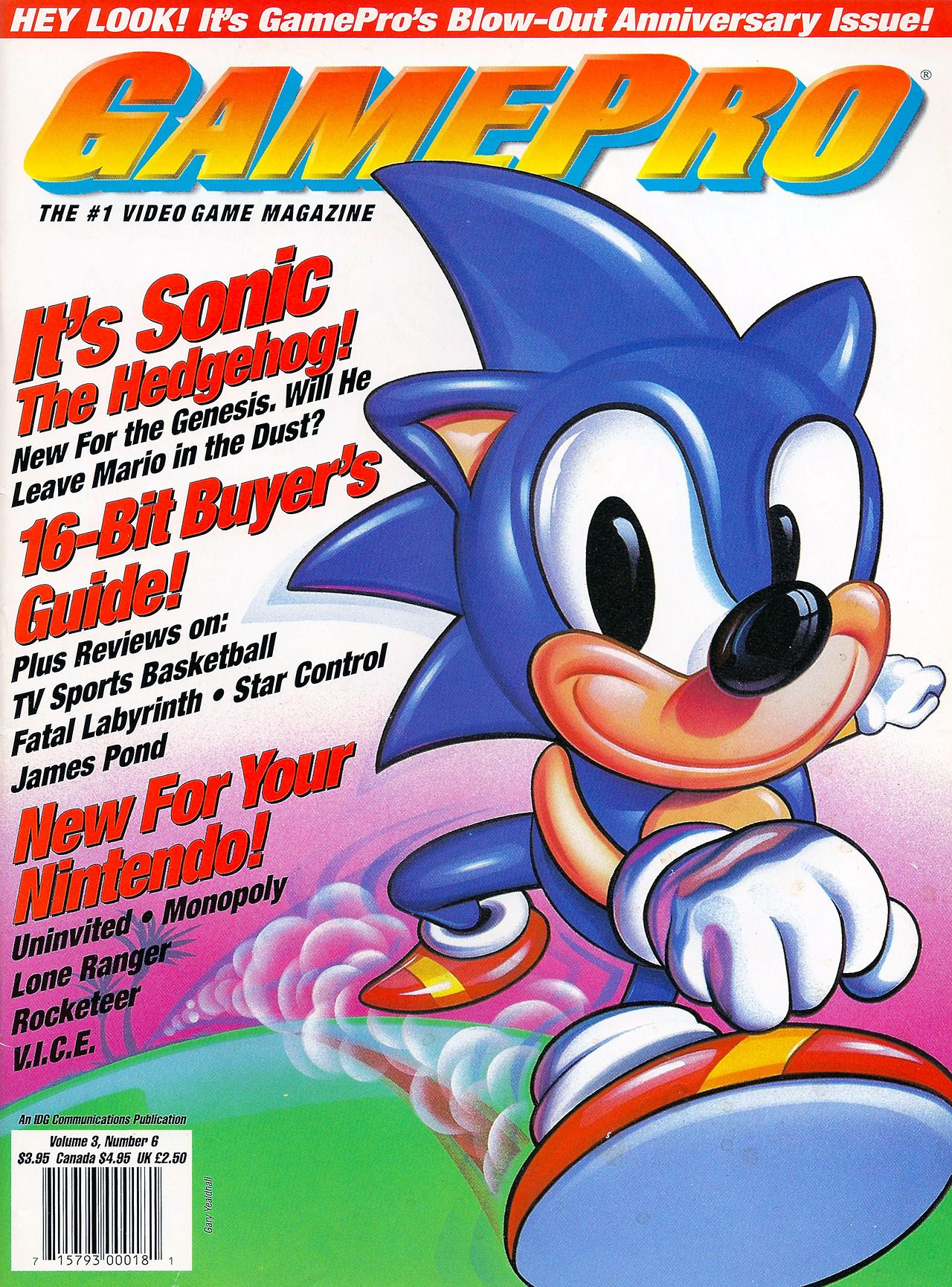 Gamepro Issue 23 June 1991 It S Sonic The Hedgehog Will He Leave Mario In The Dust Bit Of A Creepy Image Too Follow Oldg Gamepro Gaming Magazines Sonic