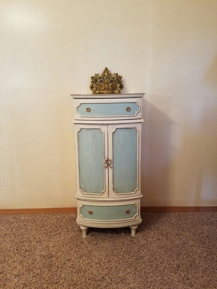 Jewelry armoire Rethunked with Linen and Robins Egg inserts Dark