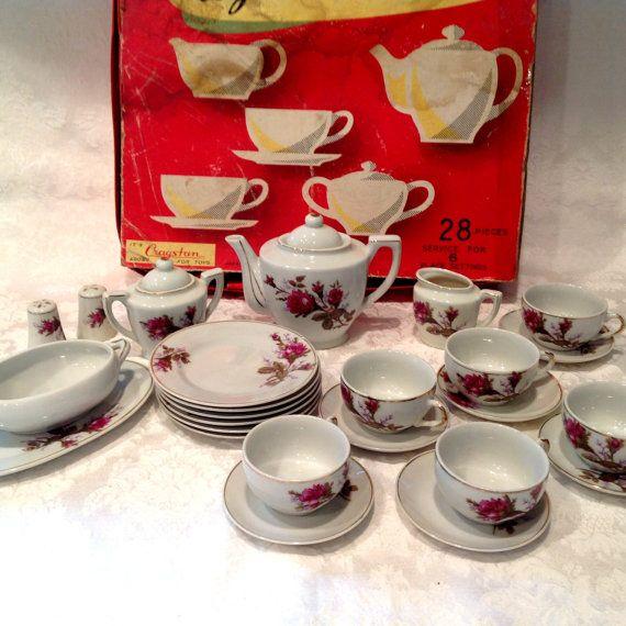 Vintage Cragstan 27 Piece Toy Tea Set Toy Tea Set Childrens Tea Sets Childrens Dishes