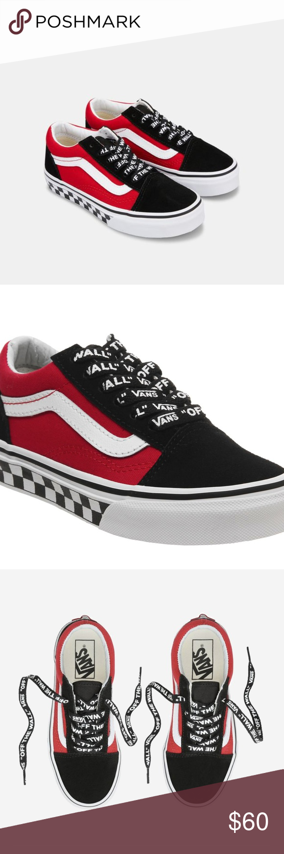 Vans Old Skool Black Red Logo Pop Kids Shoes RARE NWT   Vans