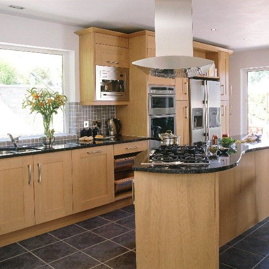 modern oak and steel kitchen | countertops, kitchens and kitchen