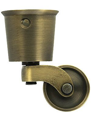 Large Solid Brass Round Cup Caster With 1 1 4 Brass Wheel In