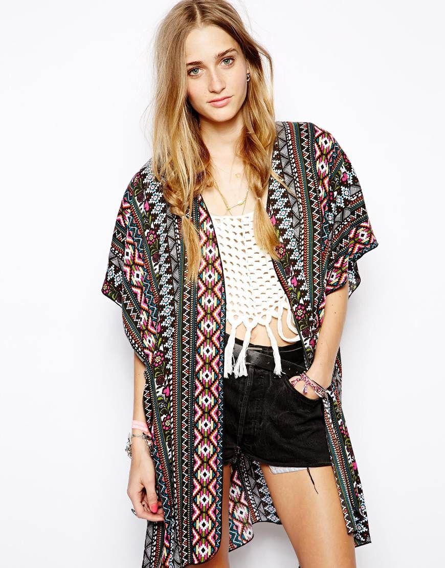 $67, Multi colored Geometric Kimono: Band of Gypsies Long Kimono ...