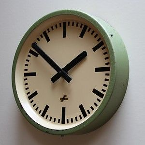 east german 1960s retro modernist industrial factory office clock