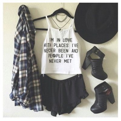 786533bf199 Image via We Heart It  black  blackskirt  boots  checked  checkedshirt   crop  cute  flannel  girly  hat  heels  outfit  photography  shirt  skirt   style ...