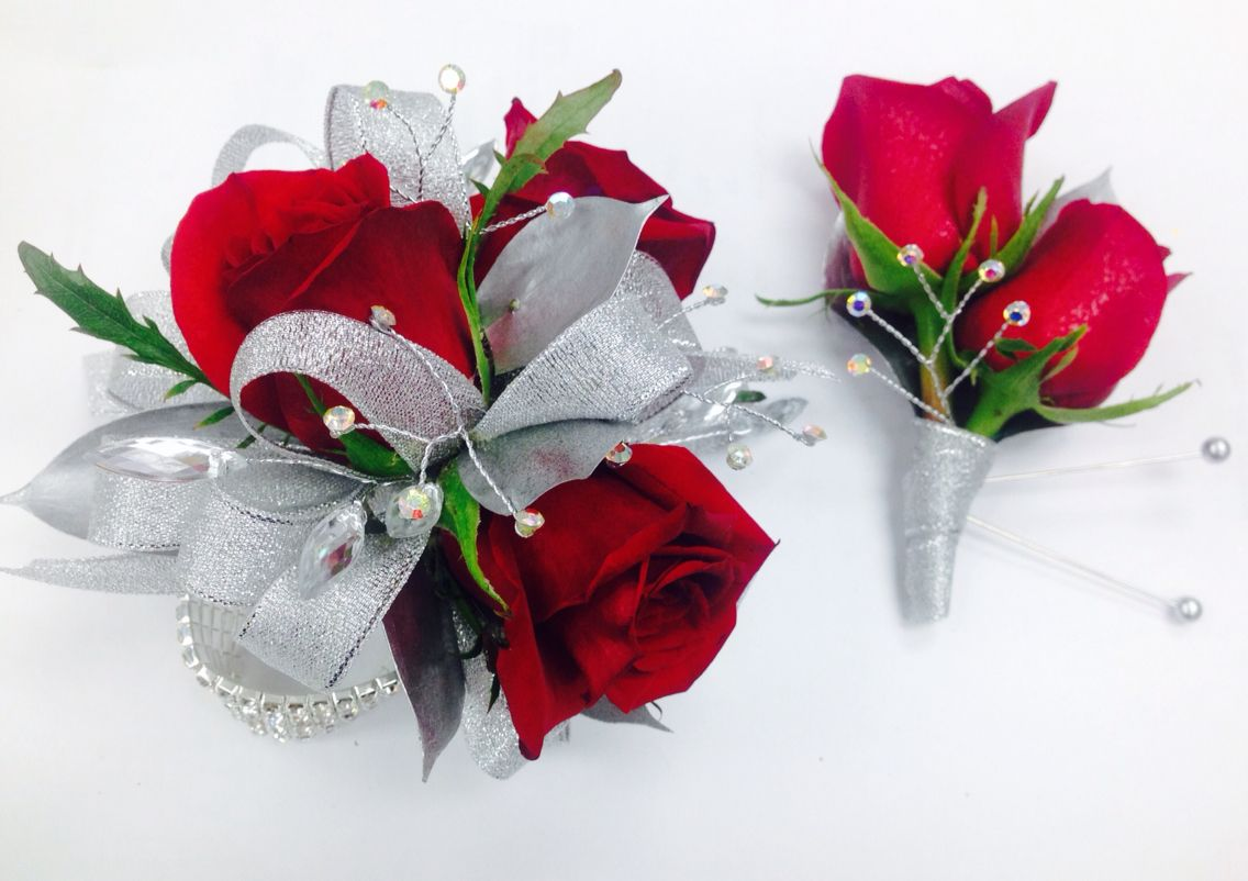 Silver and Red Roses Corsage and Boutonnire with silver