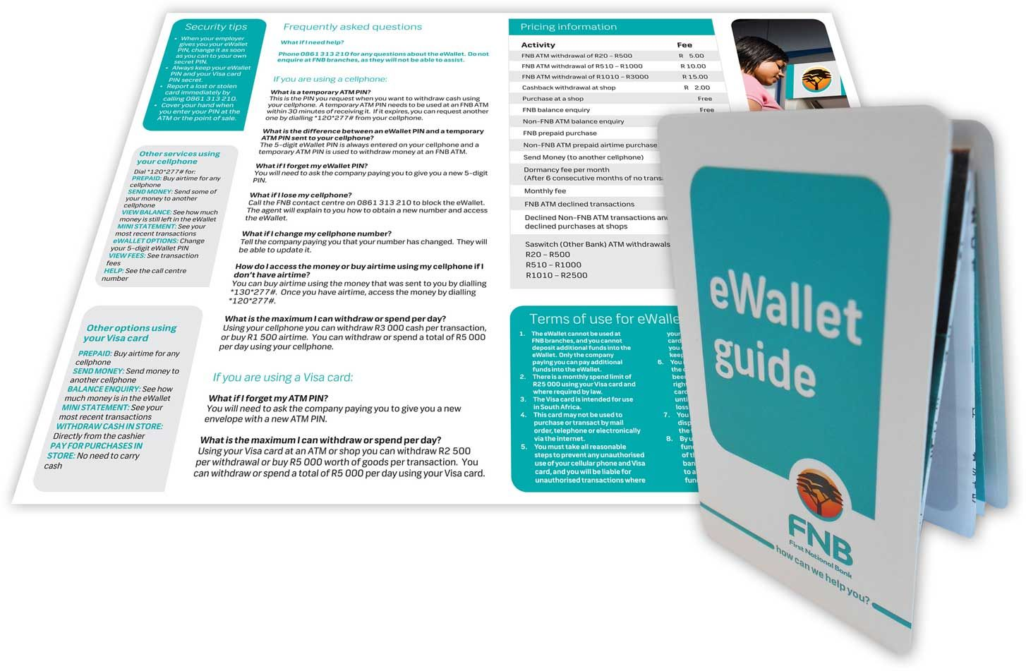 Credit cardsized FNB eWallet Guide for consumers Shows