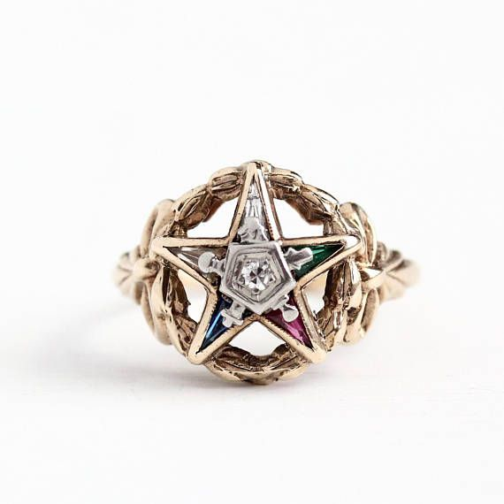 Vintage 10k Yellow White Gold Order Of The Eastern Star Ring Size 7 1 2 Oes Masonic Created Gems Antique Rings Vintage Masonic Jewelry Eastern Star Jewelry